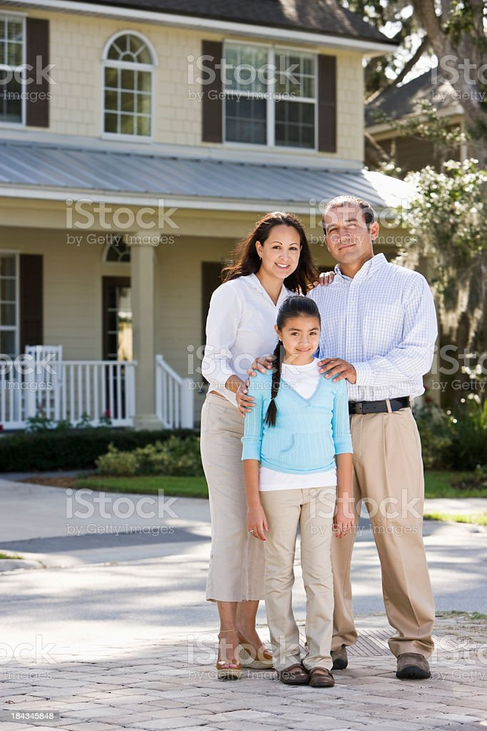 royalty free portrait happy hispanic family standing in