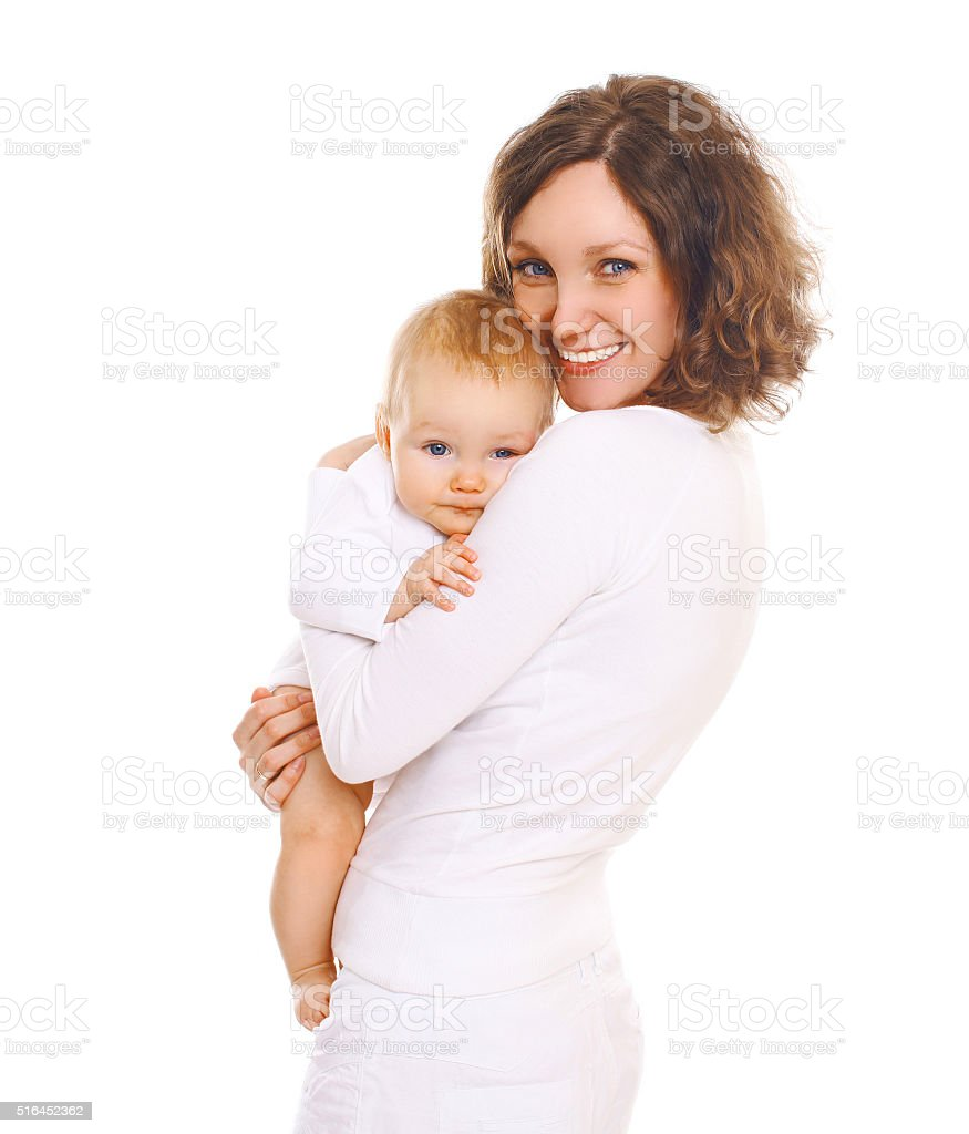 Portrait happy smiling mother with baby on a white background stock photo