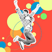 Portrait he his him guy jump high rushing futuristic stylized illustration design casual jeans denim painted into grey isolated different colored circles red yellow blue green drawing background