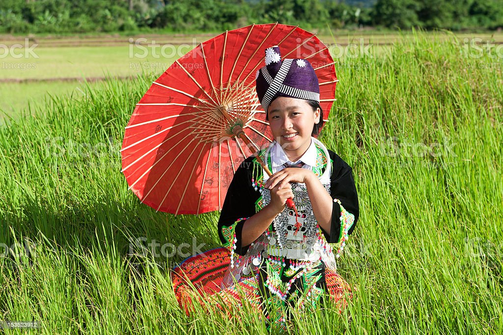 Portrait Hmong from Laos stock photo