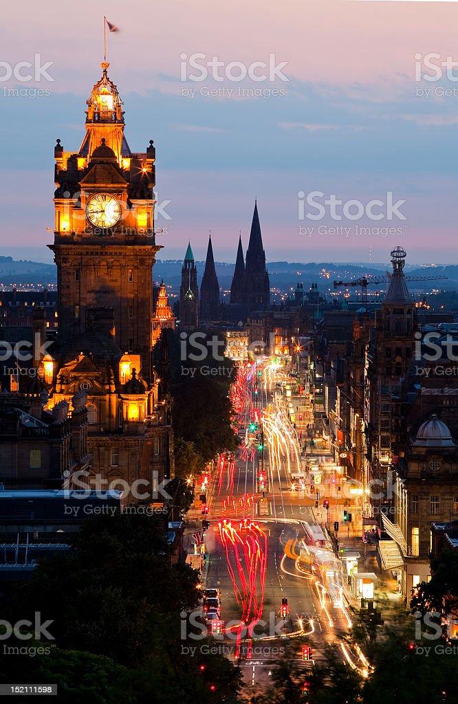 Portrait image of Edinburgh at sunset stock photo
