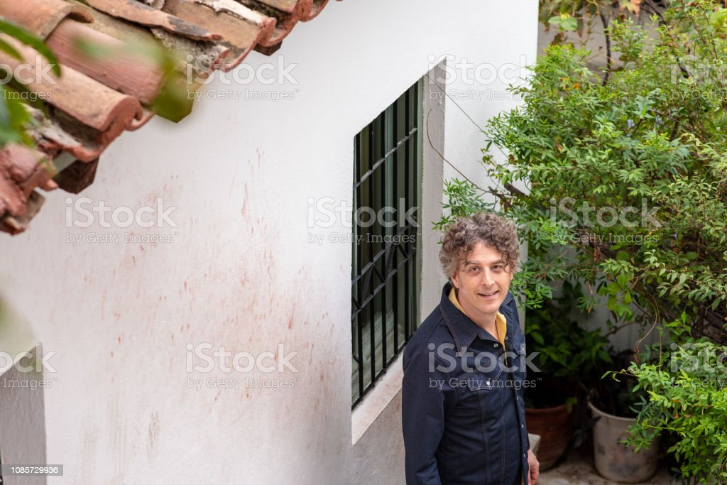 Portrait in Anafiotika in Athens, Greece stock photo