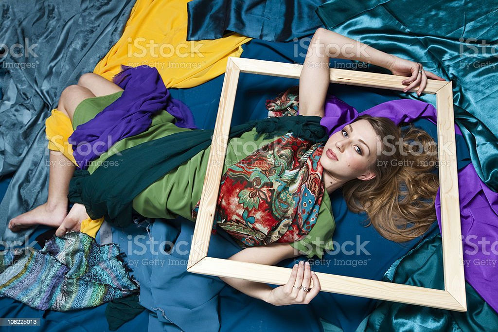 Portrait in fabric royalty-free stock photo