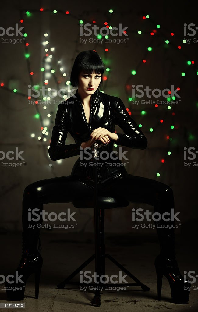 Portrait in latex catsuit royalty-free stock photo