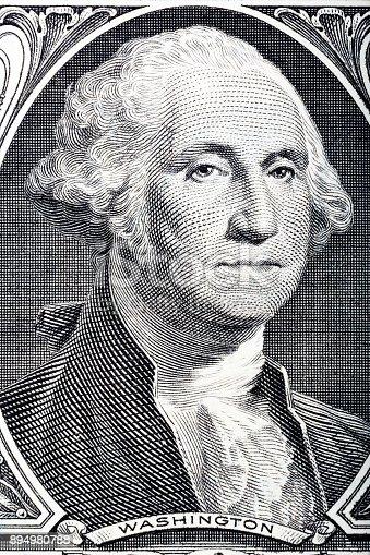 Portrait in macro of Washington's Face on a one dollar bill. Hi resolution photo.