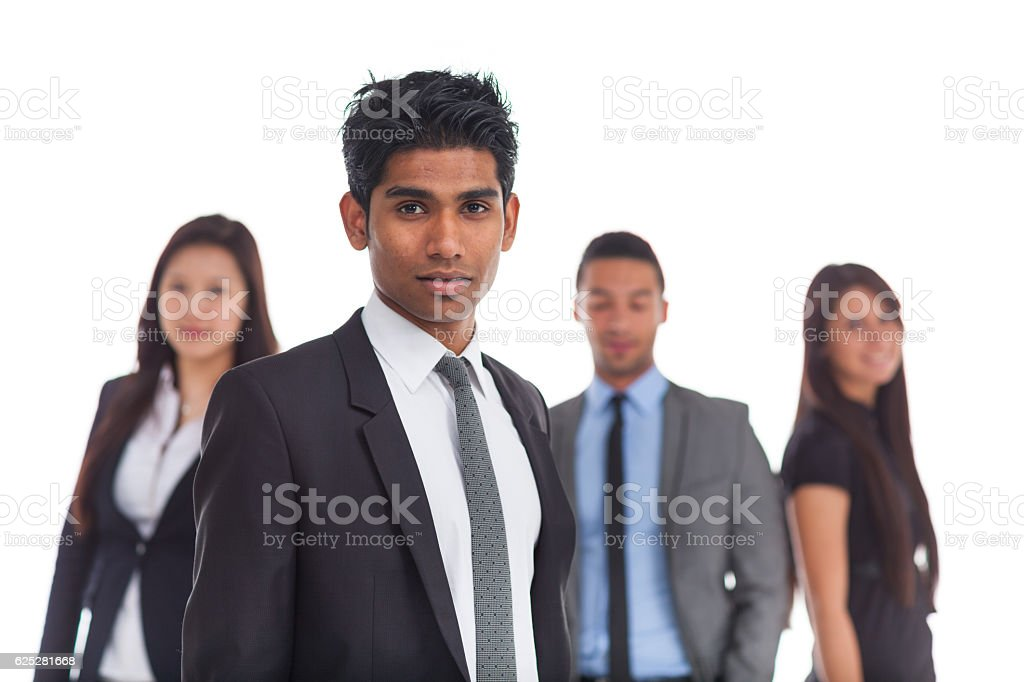 portrait indian business man, peers blurred stock photo