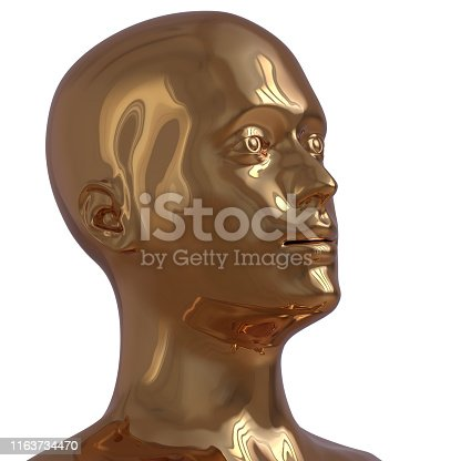 istock Portrait man golden head stylized metallic polished sci-fi concept 1163734470