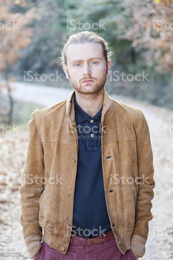 Portrait, man of twenty-four blond with blue eyes stock photo
