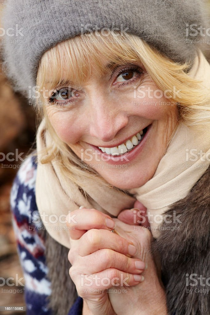 Portrait mature woman outdoors in winter royalty-free stock photo