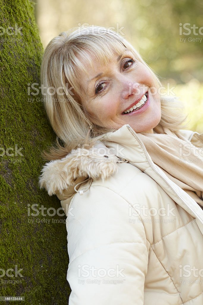 Portrait mature woman outdoors royalty-free stock photo