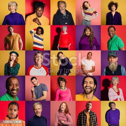 Image montage featuring 25 portraits of unique individuals.
