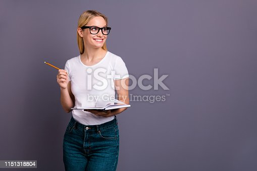 istock Portrait nice cute lady millennial youth dream dreamy focused concentrated hold hand thoughtful thoughts business businessperson cute charming make story isolated t-shirt jeans denim grey background 1151318804