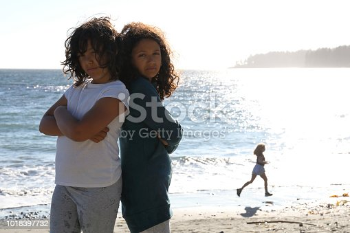 istock Portrait of 2 girls at beach, looking strong 1018397732
