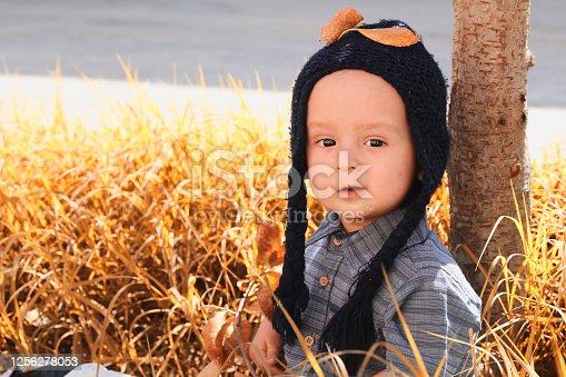 istock Portrait of 2-3 years old child in autumn garden 1256278053