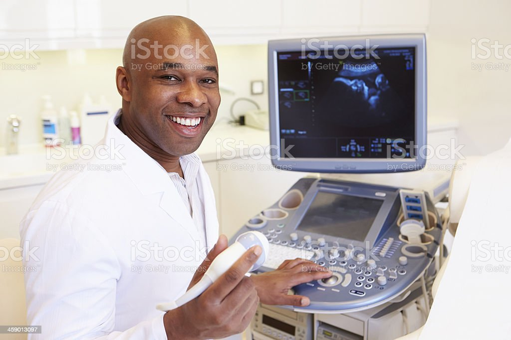 Portrait Of 4D Ultrasound Scanning Machine Operator stock photo