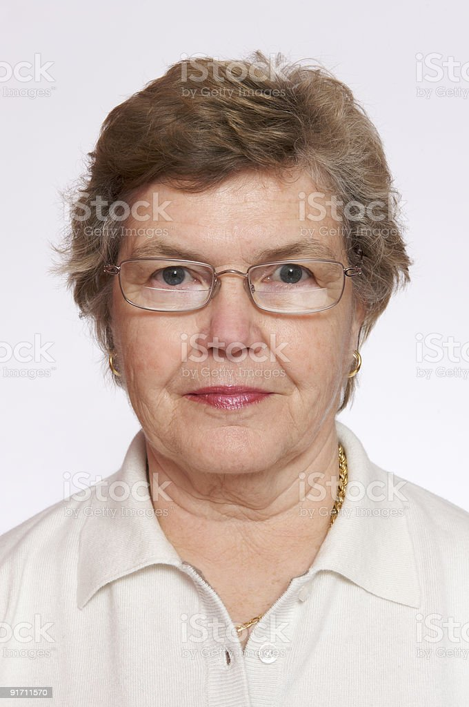 Portrait of 66 year old woman stock photo