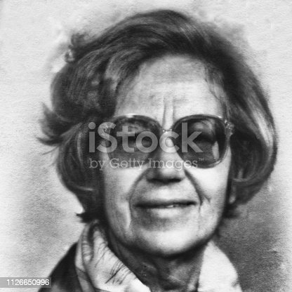 Portrait of 70 years old woman in 1960