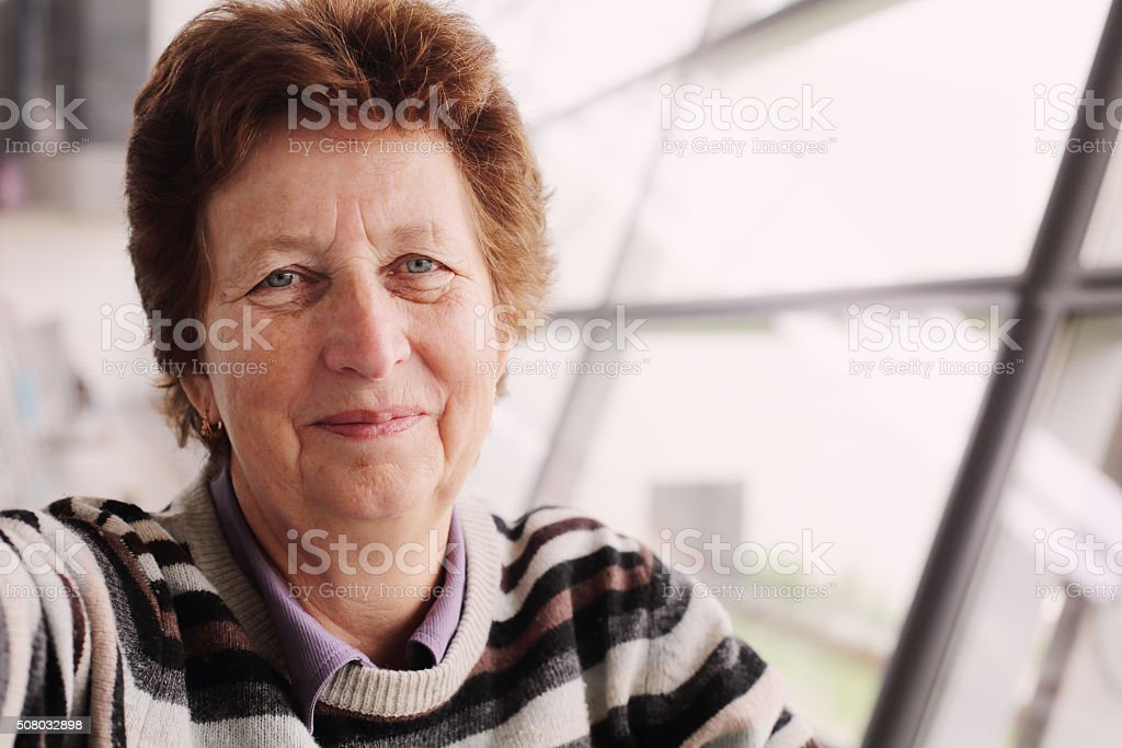 Portrait of 70 years old woman stock photo
