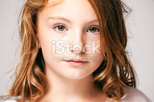 Headshot of a 10 years old cute girl.