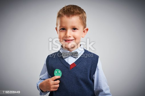 Picture of a boy posing over white background