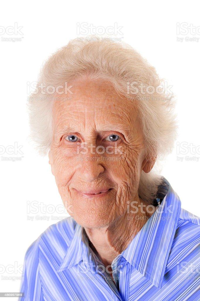 Porträt Einer 80plusjährige Frau Graue Haare Und Blaue Augen