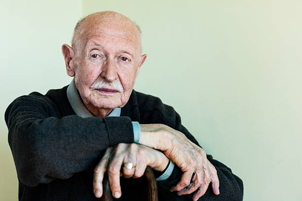 Portrait of a 90 Year Old Man stock photo