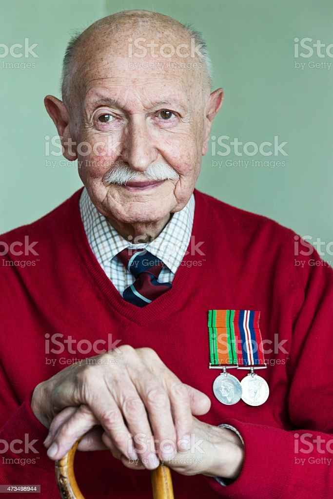 Portrait of a 90 Year Old World War 2 Veteran. stock photo