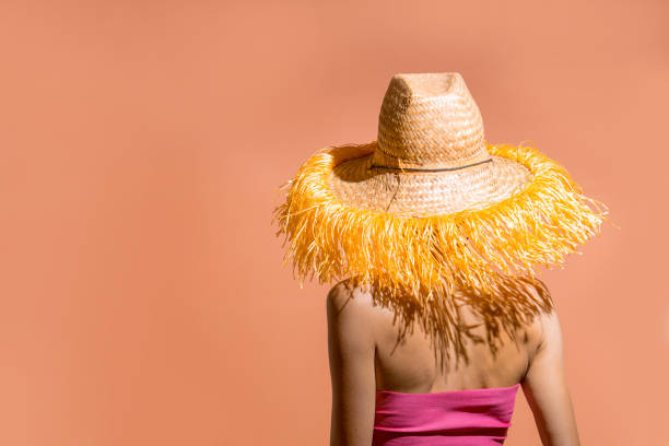 Retrato de uma mulher atraente de biquíni e chapéu - foto de acervo