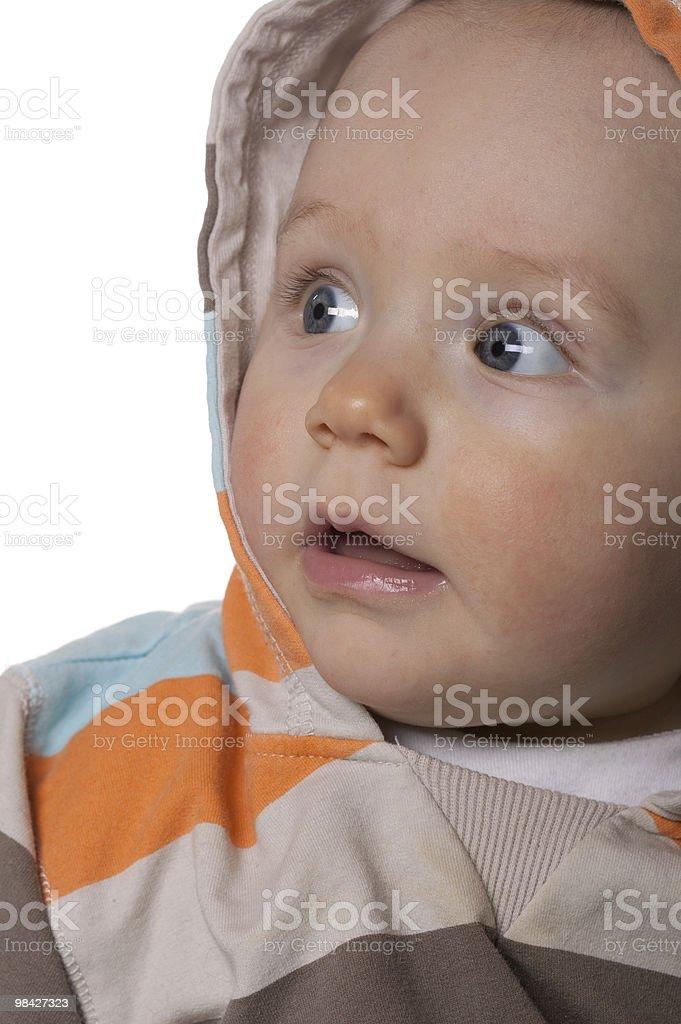 Ritratto di un bambino in hooded top. foto stock royalty-free