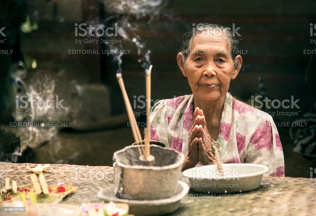 Portrait of a Balinese woman. stock photo