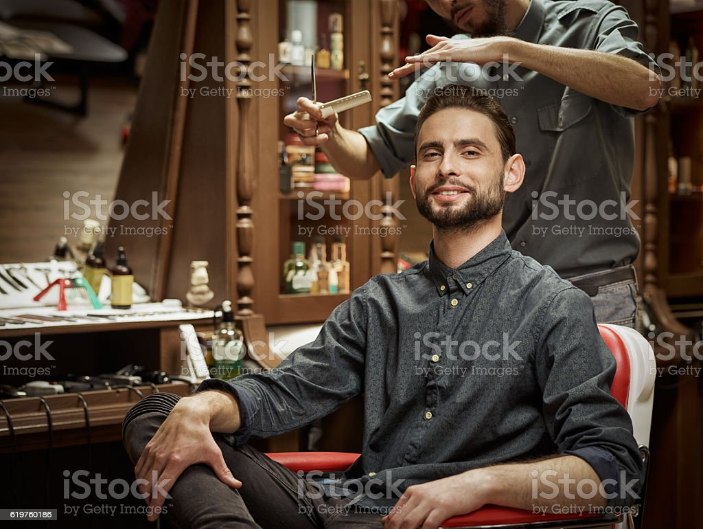 Portrait of a barber. stock photo