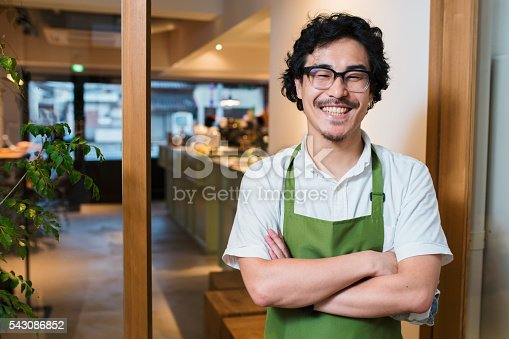 istock Portrait of a barista in an apron 543086852