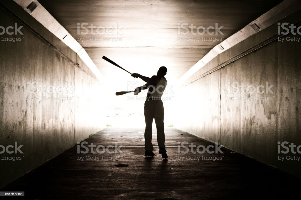 Portrait of a baseball player stock photo