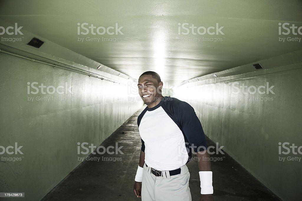 Portrait of a baseball player stock photo