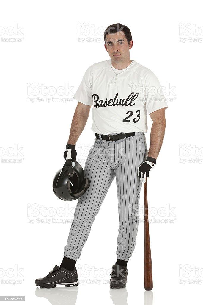Portrait of a baseball player posing stock photo