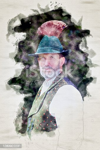 istock portrait of a bavarian man with hat in watercolors 1283922231