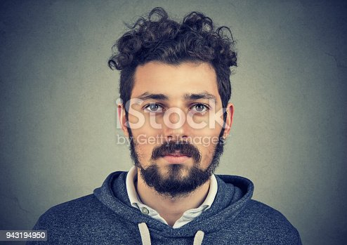 istock Portrait of a beard man with serious face expression 943194950