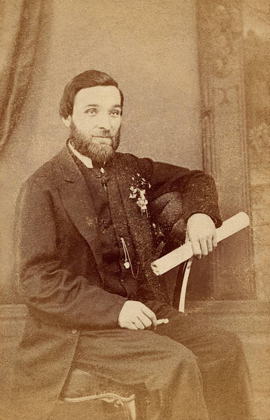 Portrait of a bearded man in the Victorian era stock photo