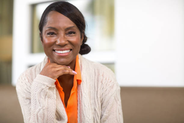 Portrait of a Beautiful African American Woman stock photo
