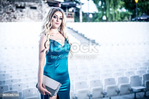 Portrait Of A Beautiful And Gentle Girl In Elegant Gown Posing Outdoor Stock Photo & More Pictures of Adult