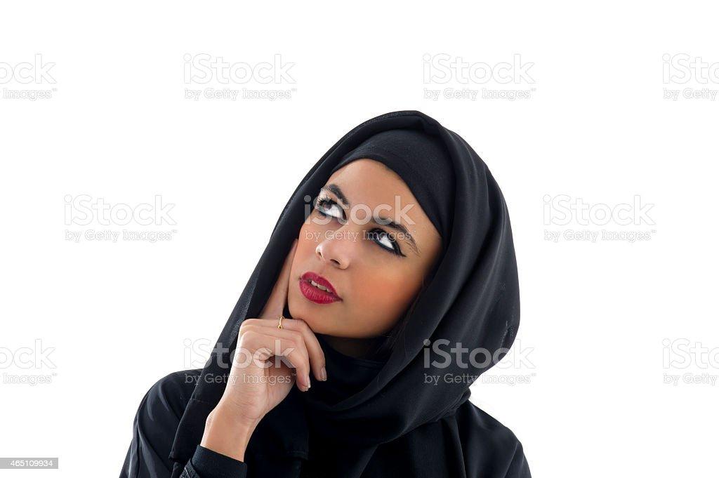 Portrait of a beautiful Arabian Woman wearing Hijab, stock photo