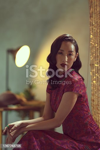 Portrait of a beautiful asian lady in traditional chinese costume