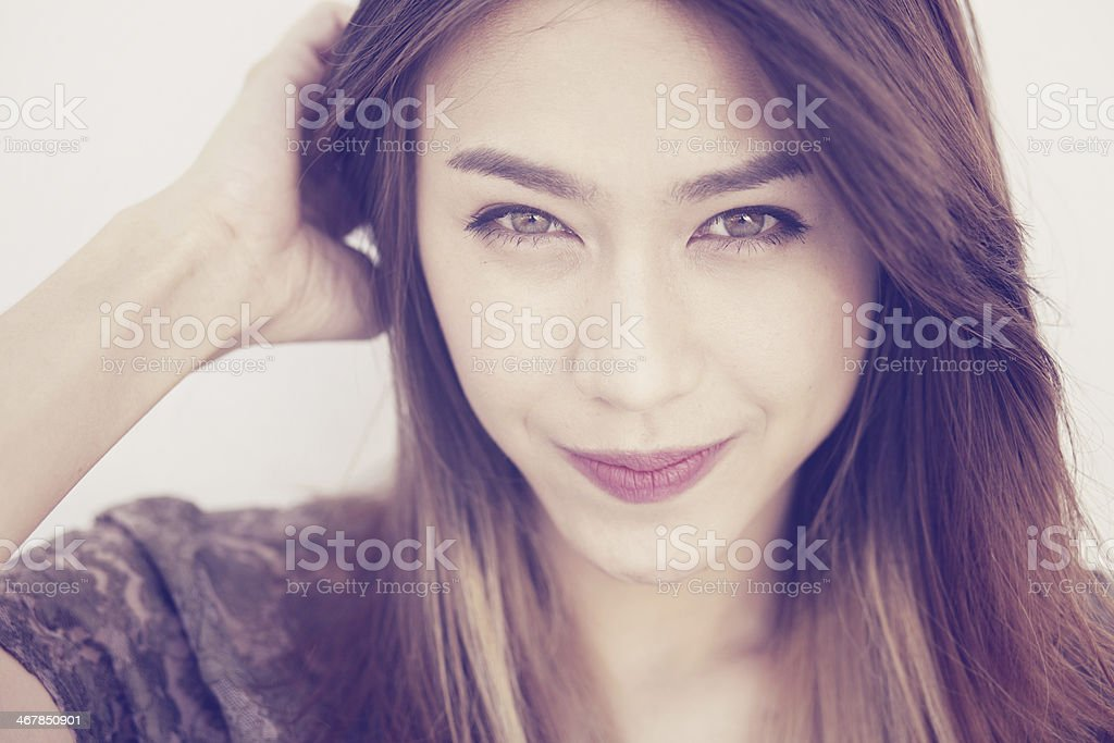 Portrait of a beautiful asian woman. stock photo