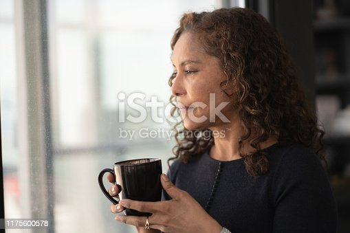 A beautiful mid adult woman of African descent is relaxing at home. She is standing near a window while holding a cup of tea. The woman has long curly hair and is wearing casual clothing. She has a thoughtful expression on her face. She is looking outside.