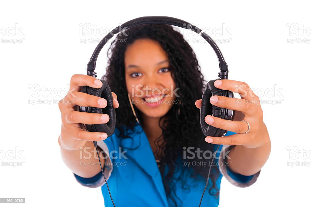 Portrait of a beautiful black woman with headphones stock photo
