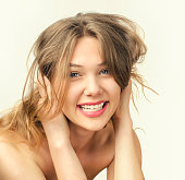 istock Portrait of a beautiful blonde girl smiling. 497613322