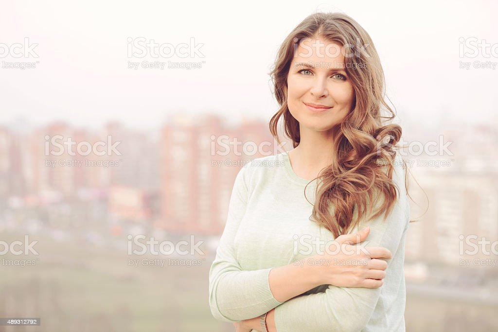 portrait of a beautiful blonde woman stock photo