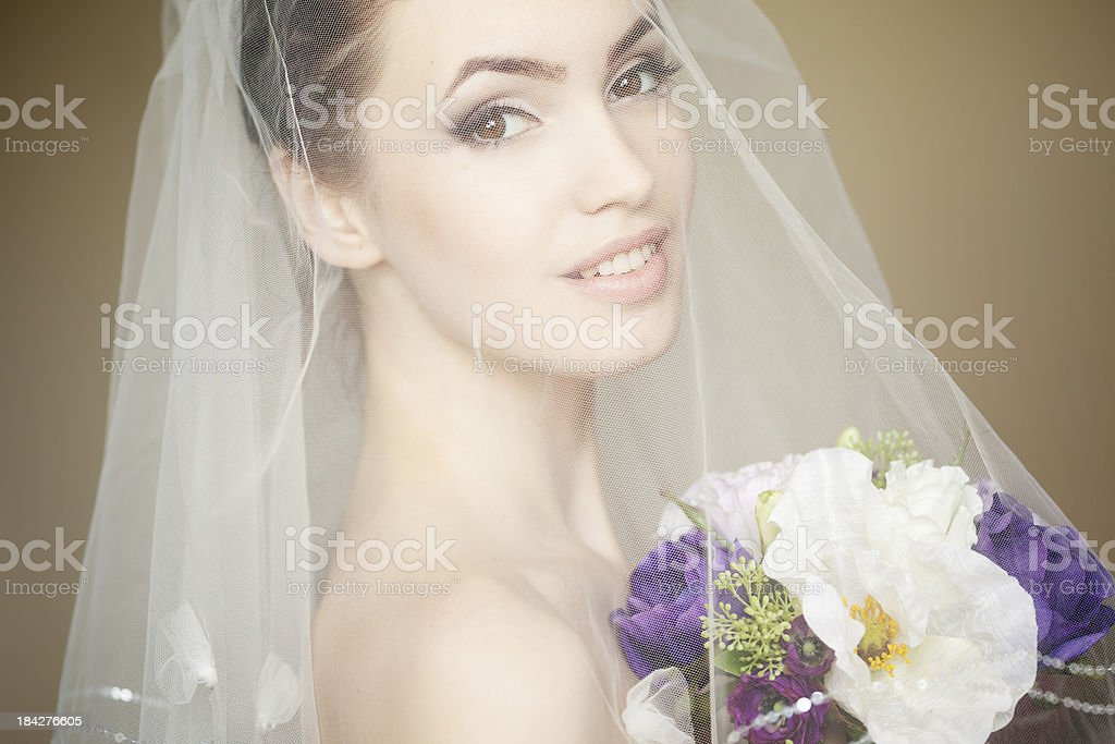 Portrait of a Beautiful bride wearing veil with flowers royalty-free stock photo