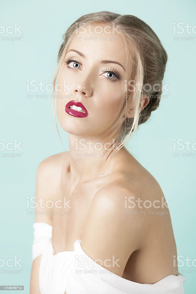 Portrait of a beautiful bride with bouquet. royalty-free stock photo