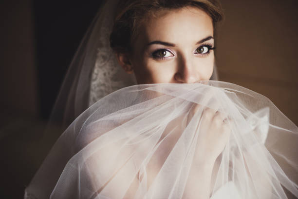 portrait of a beautiful bride with bright makeup - veil stock pictures, royalty-free photos & images